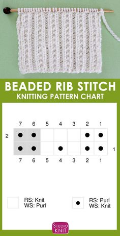 Knitting Chart of the Beaded Rib Stitch Pattern. Here's an easy vintage design of ribbing rows separated by little seed stitches for additional texture and lies flat. Rib Stitch Knitting, Easy Knitting Patterns, Knitting Charts, Loom Knitting, Free Knitting, Stitch Patterns, Knit Stitches, Knitting Tutorials, Knitting Machine