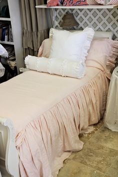 Pale Pink Twin Ruffled Bedspread Washable Linen.
