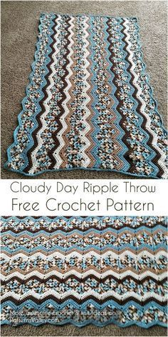 Even if the day is dreary, wrapping yourself in this throw will make you feel comfy. Crocheted in an up-to-date version of the ripple pattern, it adds textural interest to your surroundings. Link for free pattern is below! Skill Level: Easy, Craft: Crochet, Designed by: Mary Ann Frits NOTE: Free crochet pattern in PDF format you can simply download from here. #freecrochetpattern #freecrochet #crochet3 #easycrochet #patterncrochet #crochettricks #crochetitems #crocheton #thingstocrochet