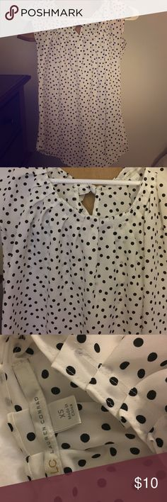 White blouse White blouse with black polka dots LC Lauren Conrad Tops Blouses