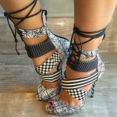 Alexandra G Leather Multi Strap Heels Santiago