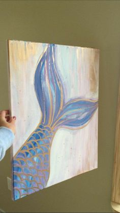 Mermaid canvas- easy canvas painting ideas kids paintings on Cute Canvas Paintings, Easy Canvas Painting, Diy Canvas Art, Canvas Ideas, Mermaid Paintings, Little Mermaid Painting, Canvas Painting Designs, Acrylic Paint On Canvas, Elephant Canvas Painting