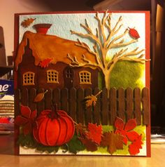 Cottage Garden in the Fall, pumpkins and leaves: Dee's Distinctively, Die-namics, Elizabeth Craft Designs and Impression Obsession dies