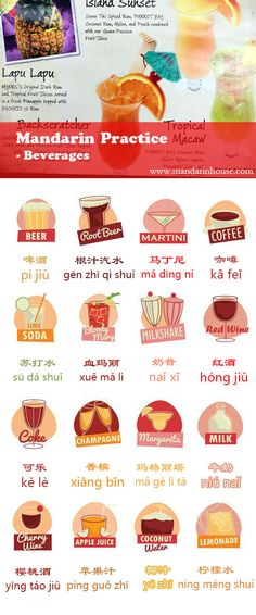 Beverages in Chinese! Take order easier in an Chinese restaurant and bar.  For more info please contact: bodi.li@mandarinhouse.cn The best Mandarin School in China