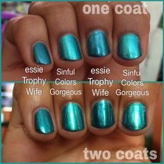Essie Trophy Wife vs Sinful Colors Gorgeous