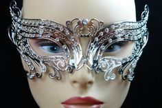 Elegant Silver Swan Metal laser Cut Venetian Masquerade Mask with Diamonds * This is an Amazon Affiliate link. Want to know more, click on the image.