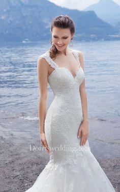 #Dorris Wedding - #Dorris Wedding Mermaid Floor-Length Sweetheart Sleeveless Lace-Up Lace Dress With Appliques - AdoreWe.com