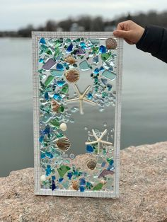 Best 11 Beach Bathroom Decor Wall Hanging, Beach Decor of Seashell Art, Coastal Wall Art of Shells on Glass, Beach Wall Art, Coastal Wall Decor – SkillOfKing. Sea Glass Mosaic, Sea Glass Art, Glass Beach, Fused Glass, Coastal Wall Decor, Beach Wall Decor, Seashell Art, Seashell Crafts, Diy Resin Crafts