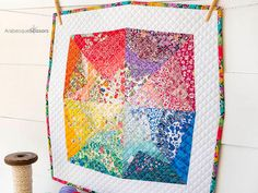 Liberty Rainbow Mini Quilt - 56 separate Liberties Colorful Quilts, Mug Rugs, Mini Quilts, Table Toppers, Arabesque, Scissors, Separate, Liberty, Eye Candy
