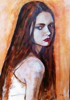 Young girl Katiuscha Feofanova, acrylic on paper 70x50
