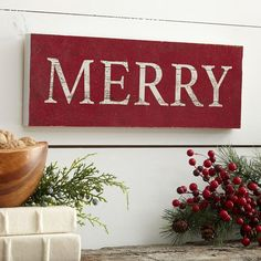 Merry Plaque | Evoke the spirit of the holidays in your space with this wooden plaque.