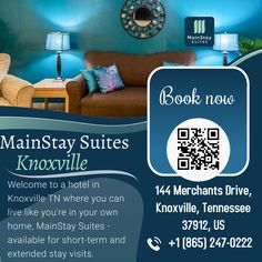 """For dream holidays book your stay.Visit our website:- mainstayknoxville.com OR Contact:- +1 (865) 247-0222.#Choicehotel #mainstaysuites #knoxville #Tennessee #contactusnow📲 #book #booknow‼️ @mainstayknoxville"""" University Of Tennessee, East Tennessee, Knoxville Zoo, Neyland Stadium, Affordable Hotels, Extended Stay, Smoky Mountain National Park, Hotel Stay, Stay In Shape"""