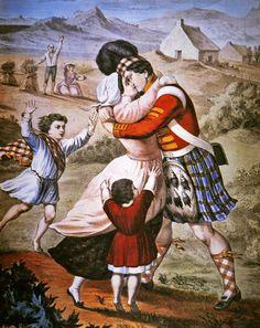 "TARTAN: Antique Painting ~ ""The Highlander's Return"", published by Currier & Ives Scotland History, Scotland Uk, Bonnie Prince Charlie, Victorian Paintings, The Bonnie, Currier And Ives, Highlanders, Military Art, Tartan Plaid"