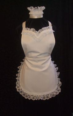 White Kitchen Apron 1pc women's lolita apron - french maid white vintage kitchen apron