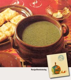 """Spinach Soup with Cheese Bread – Spinatsuppe Med Ostebrød - Recipes from """"Kulinarisk Pass"""" (Culinary Passport) published by Tupperware in 1970 - This is one of the recipes from Norway in the book."""