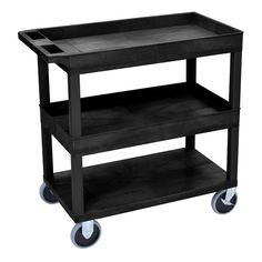 """Luxor High-capacity Flat Shelf Cart with Two Tubs (Luxor 32""""W x 18""""D HD Utility Cart)"""