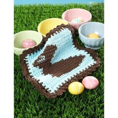 Strandless colorwork makes this cute dishcloth a great hostess gift for Easter. Chocolate Bunny Dishcloth - Patterns   Yarnspirations