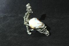 Opal Ornament, Comical Miner with Polished Boulder Opal Specimen in Barrow, Australian Made Pewter, Quality, Free Standing Hand Made Gift.  #jewelry #jewelrymaking #jewelrydesign #boho #bohochic #gypsy #bohostyle #bohojewelry #opal #stone #gemstone #pearl #raw #bolo #bracelet #bolo #ornament