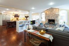1/2 wall w/tv and storage Betsy - contemporary - living room - new york - Brunelleschi Construction