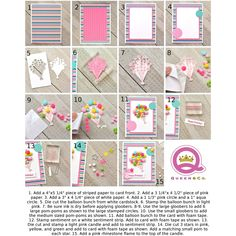 How to make the Balloon Bouquet Card Step by Step with Pom-Poms with the Birthday Bash Card Kit. Queen and Company, Ginger Williams