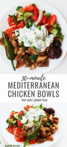 30 minutes · Gluten free · Serves Mediterranean Chicken Bowls - a healthy dinner that is full of flavor, easy to meal prep and even easier to eat! With tzatzki, vegetables, chicken and olives these healthy chicken bowls will… Easy Mediterranean Diet Recipes, Mediterranean Chicken, Mediterranean Bowls, Yummy Chicken Recipes, Healthy Recipes, Healthy Chicken, Keto Recipes, Low Carb Low Salt Recipes, Protein Recipes