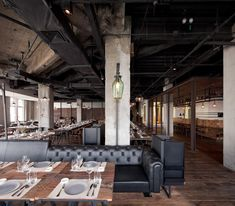 Mercato Italian restaurant at Three on the Bund in Shanghai, China, by Neri&Hu with exposed structure and a raw industrial interior. Commercial Design, Commercial Interiors, Restaurant Design, Restaurant Bar, Industrial Restaurant, Restaurant Interiors, Restaurant Furniture, Shanghai, Cafe Interior
