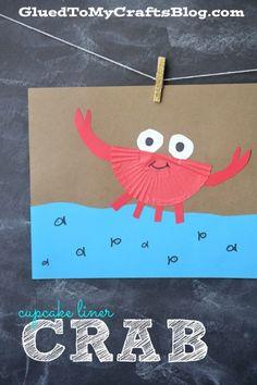 Adorable cupcake liner crab craft for kids. Sea Crafts, Plate Crafts, Art For Kids, Crafts For Kids, Arts And Crafts, Paper Plate Crab, Cupcake Liner Crafts, Cupcake Liners, Crab Art