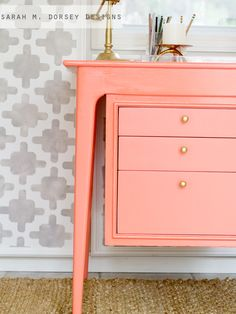 Coral Desk (Behr Cool Lava) matched at Sherwin Williams in Pro Classic semi gloss.