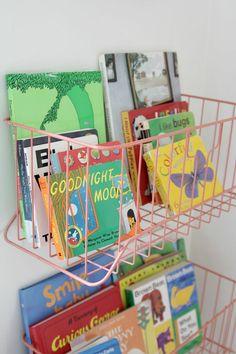 powder coated wall shelf basket for books