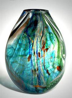 Aquos Flat: Randi Solin: Art Glass Vessel - Artful Home