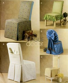 Chair Slip Cover Pattern Vogue V8059 Fabric Chair Covers Formal Banquet Chair Seat Covers UNCUT via Etsy