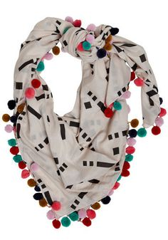 colorful pom-pom fringe contrasted with graphic black and white. #scarves #sewing