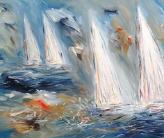 Abstract Painting Sailing Boats Art by abstractpaintingshop