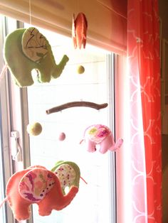 Handmade elephant mobile for #nursery