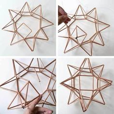 Complete First Side for DIY Copper Moravian Star Pendant Light Fixture - All About Decoration Geometric Star, Geometric Shapes, Parol, Copper Decor, Star Diy, Pendant Light Fixtures, Wire Pendant Light, Pendant Lamps, Pendant Lights
