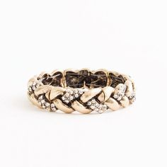 braided gold and crystal bracelet / j.crew