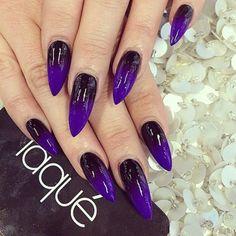 black purple ombre stilleto