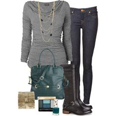 """""""gray and teal"""" by marnifox on Polyvore"""
