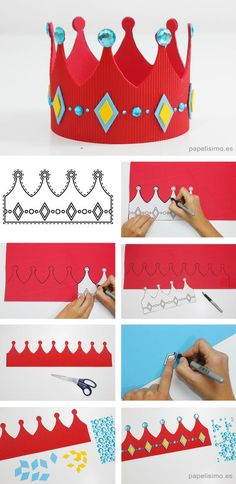 Corona-de-goma-eva-plantillas-diy-king-crown-template - Fasten Tutorial and Ideas Crown Crafts, Diy Crown, Diy For Kids, Crafts For Kids, Crown For Kids, Crown Template, Heart Template, Flower Template, Paper Crowns