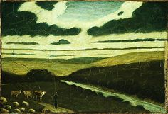 """Landscape,"" Albert Pinkham Ryder, 1897–98 (?), oil on canvas, 9 1/2 x 14"", Metropolitan Museum of Art."