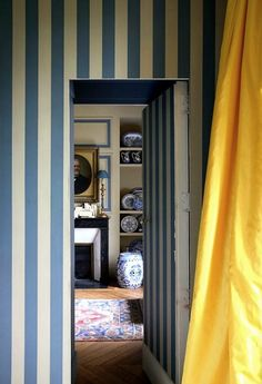 10 Fabulous Variations on a Striped Room - Thou Swell - Blue striped walls with yellow curtain and jib door via World of Interiors on Thou Swell # - Decor, Striped Room, Home Decor Inspiration, World Of Interiors, Blue Striped Walls, Home, Yellow Curtains, Interior Design, Striped Walls