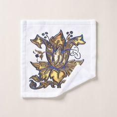 Blue & Gold Floral Jeweled Deco Bath Towel Set - monogram gifts unique design style monogrammed diy cyo customize