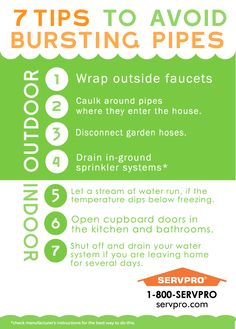 7 Tips to Avoid Bursting Pipes #Safety #Servpro