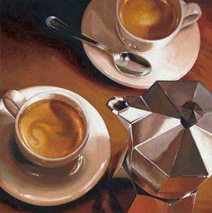 Giclee Print: Intermezzo by Federico Landi : Coffee Lab, Coffee Time, Coffee Cups, Coffee Maker, Coffee Lovers, Morning Coffee, Mouth Watering Food, Italian Coffee, Painting Edges