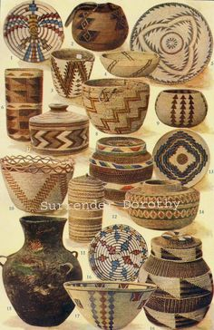 Here are some stellar examples of Native basket weaving from the Hopi, Klikitat, Washo, Klamath, Salish, Tlinkit, Mission, Tulare, Panamint and Apache Peoples.  This lovely original cultural anthropology lithograph chart from 1915 shows 17 beautiful handmade woven examples of the indigenous people of the Americas.