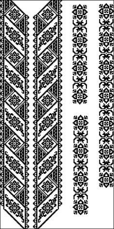 Beading _ Pattern - Motif / Earrings / Band ___ Square Sttich or Bead Loomwork ___ Folk Embroidery, Embroidery Patterns Free, Loom Patterns, Craft Patterns, Beading Patterns, Cross Stitch Embroidery, Embroidery Designs, Beaded Cross Stitch, Cross Stitch Borders