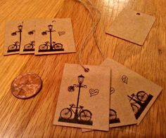 75 small Kraft gift tags & jute string with by PartySurprise