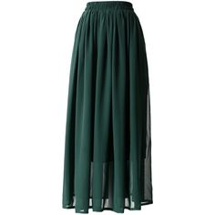 Chicwish Darkgreen Pleated Maxi Skirt ($36) ❤ liked on Polyvore featuring skirts, bottoms, maxi skirts, chicwish, saias, green, pleated skirt, green pleated skirt, accordion pleated skirt and chiffon skirt
