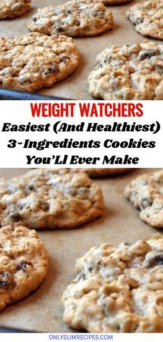 Easiest (And Healthiest) Cookies You'Ll Ever Make // weightwatchersrecipes smartpointsrecipes WeightWatchers weight_watchers Healthy Skinny_food recipes smartpoints Cookies Weight Watcher Desserts, Weight Watchers Snacks, Weight Watcher Cookies, Plats Weight Watchers, Weight Watchers Breakfast Bar Recipe, Weight Watchers Muffins, Skinny Recipes, Ww Recipes, Gourmet Recipes