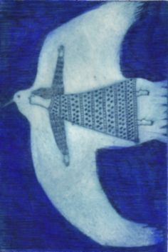 Yuko Hosaka is a Japanese illustrator and printmaker. Her image of the woman in the bird is so iconic and beautiful, that I was s. Inuit Kunst, Arte Inuit, Inuit Art, Culture Art, Cyanotype, Bird Art, Painting & Drawing, Printmaking, Illustrators